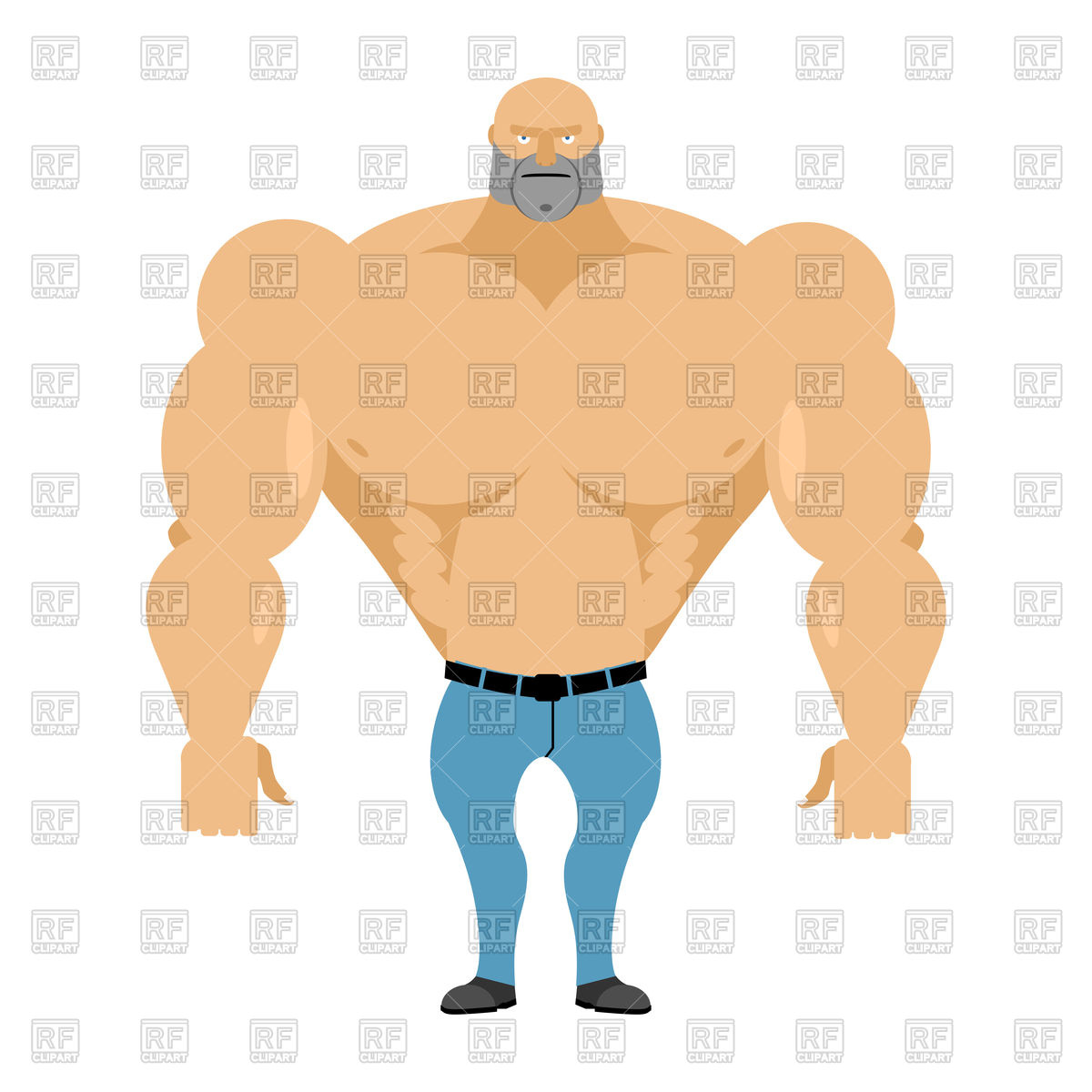1200x1200 Strong Man With Naked Torso In Blue Jeans Royalty Free Vector Clip