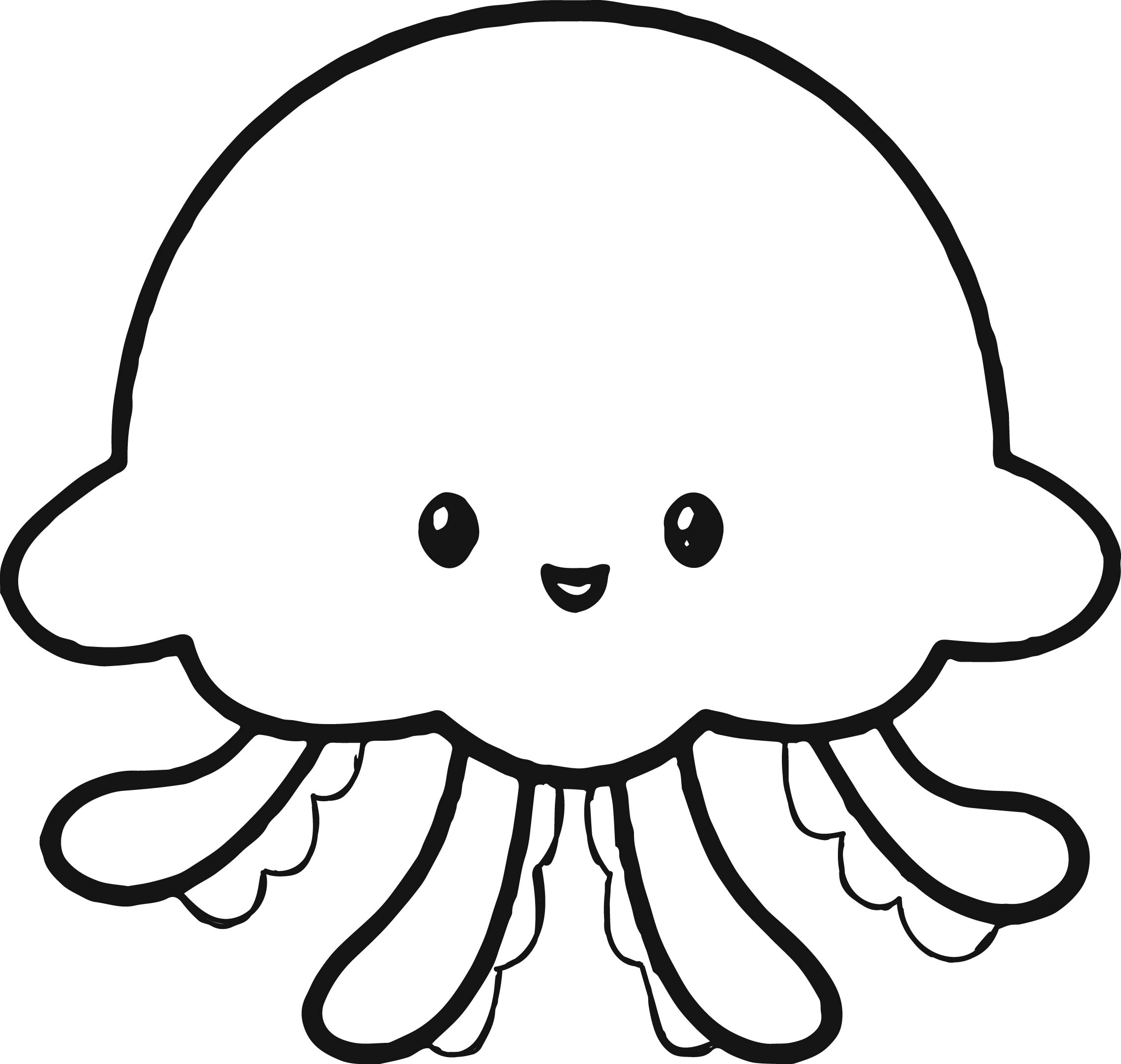 Jellyfish Clipart Black And White