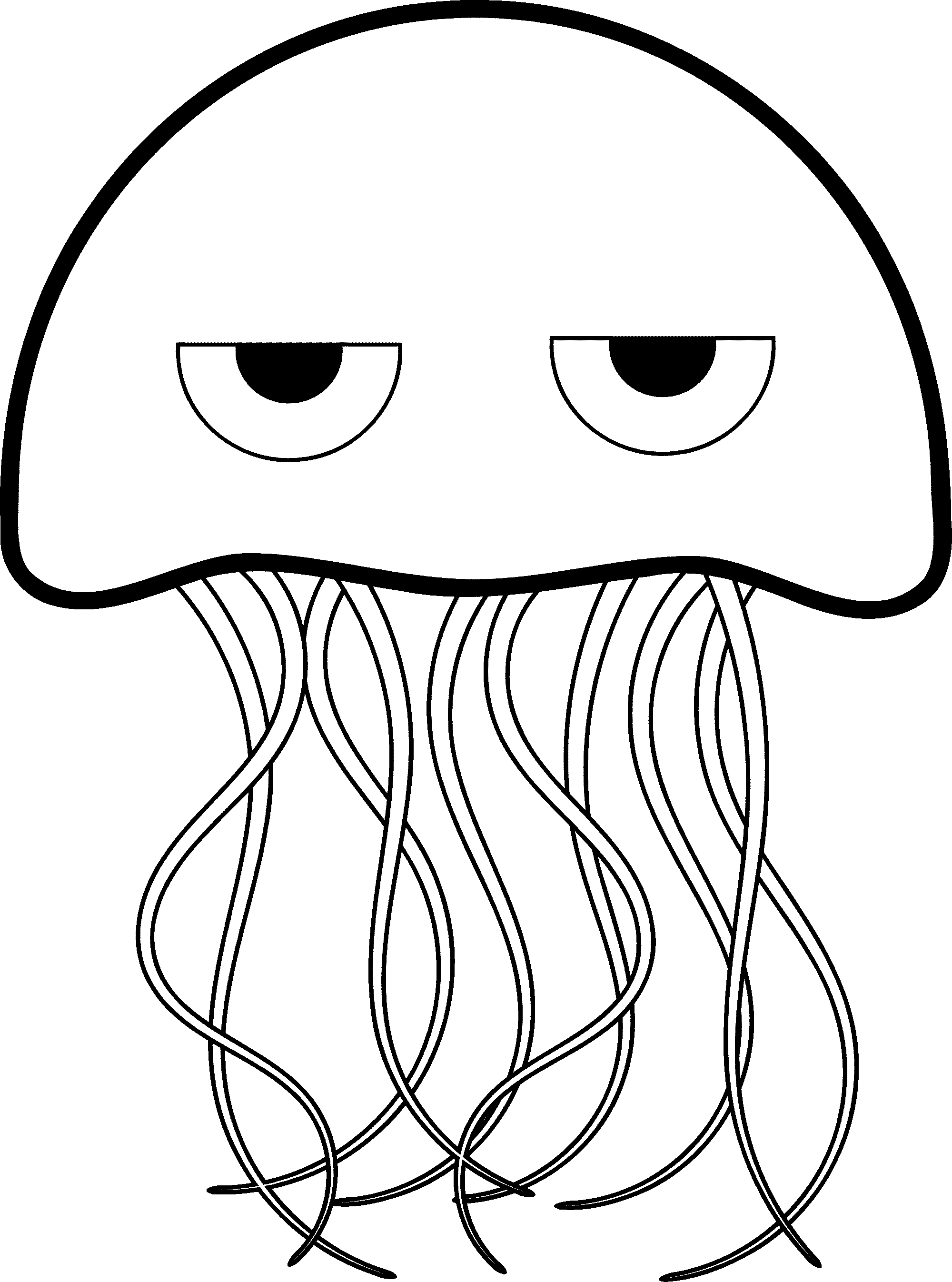 box jellyfish coloring pages | Jellyfish Clipart Black And White | Free download best ...