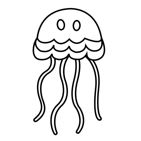 600x600 Simple Cartoon Jellyfish Coloring Page