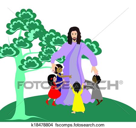 450x421 Clipart Of Jesus Loves The Little Children K18478804