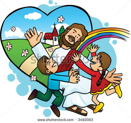 450x425 Jesus With The Children Clipart