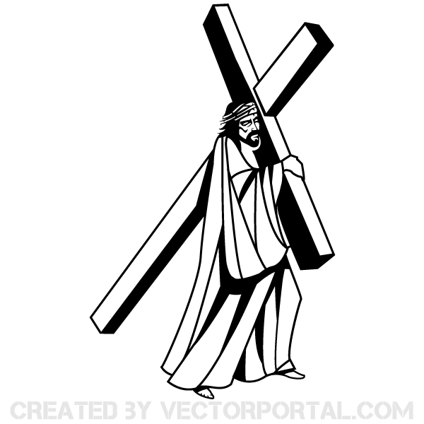 600x600 Jesus Christ Carrying The Cross Image 123freevectors