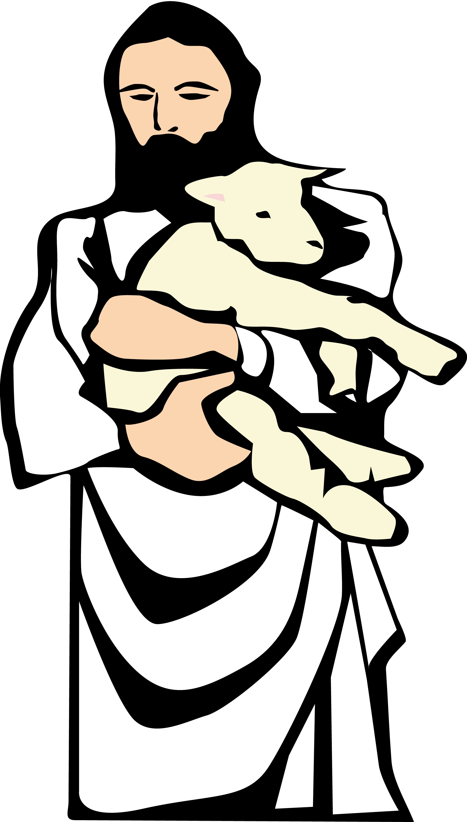 1875x3300 Jesus Christ With Sheep Clipart