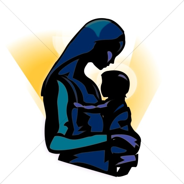 600x600 The Madonna Holding Baby Jesus Clipart Nativity Clipart
