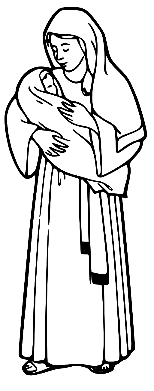 513x1300 Child With Jesus Clipart Black And White
