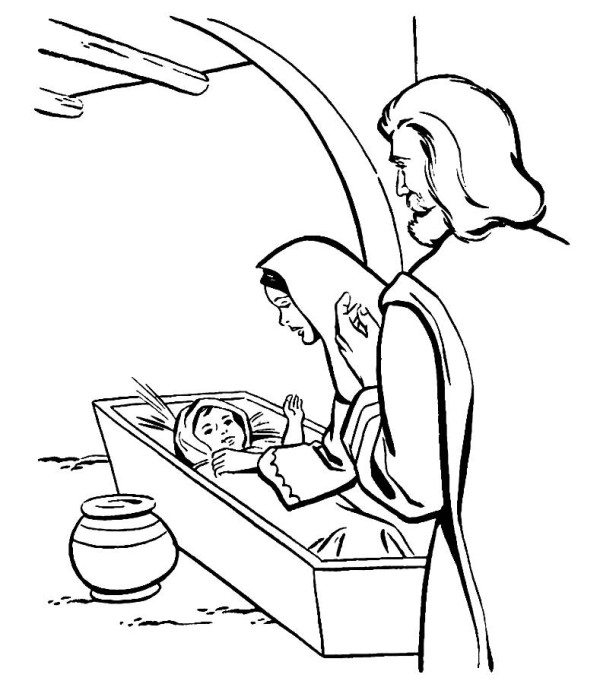 600x684 Christmas Birth Of Jesus Coloring Pages