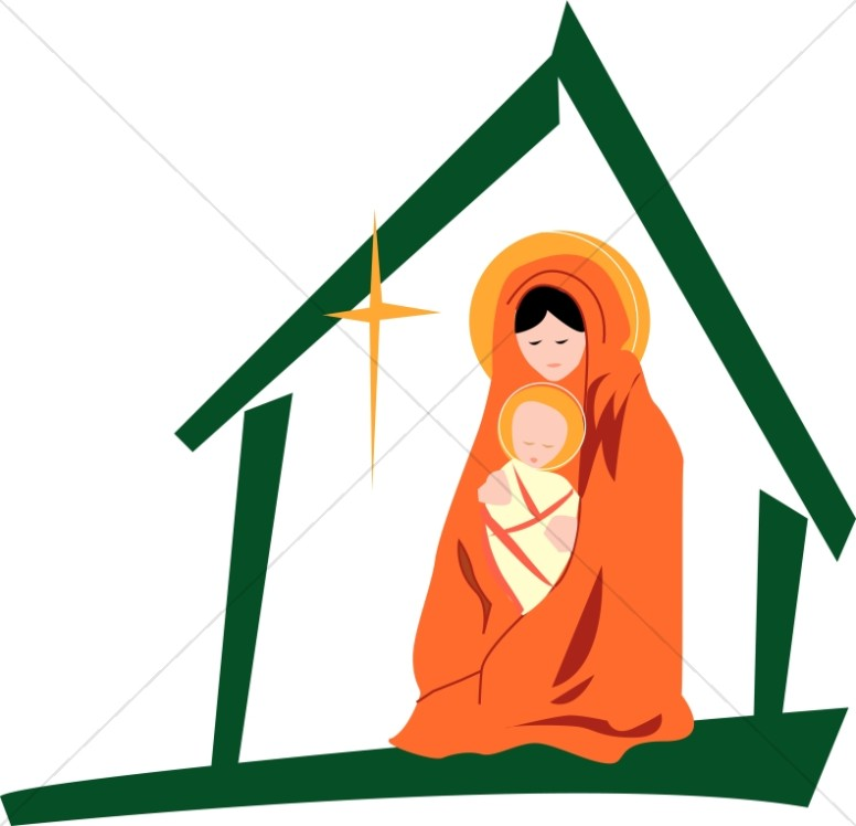 776x748 Mary With Jesus In The Manger Virgin Mary Clipart
