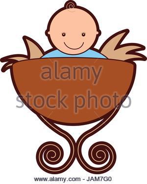 300x377 Jesus Baby In Straw Cradle Manger Stock Vector Art Amp Illustration