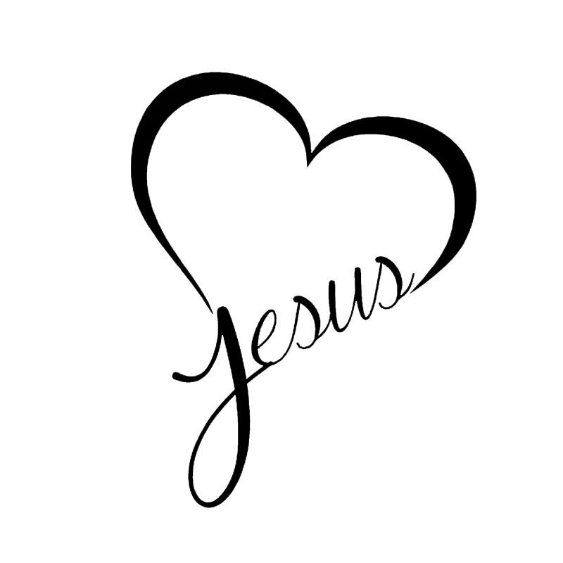 800x800 Jesus Heart God Love Christ Font B Bible B Font Art Car Stickers