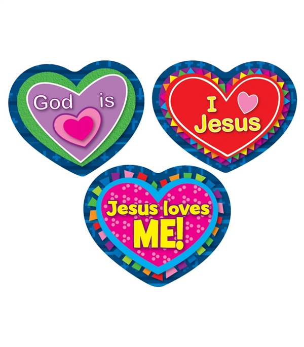 600x685 Jesus Loves Me! Shape Stickers Carson Dellosa, 168080