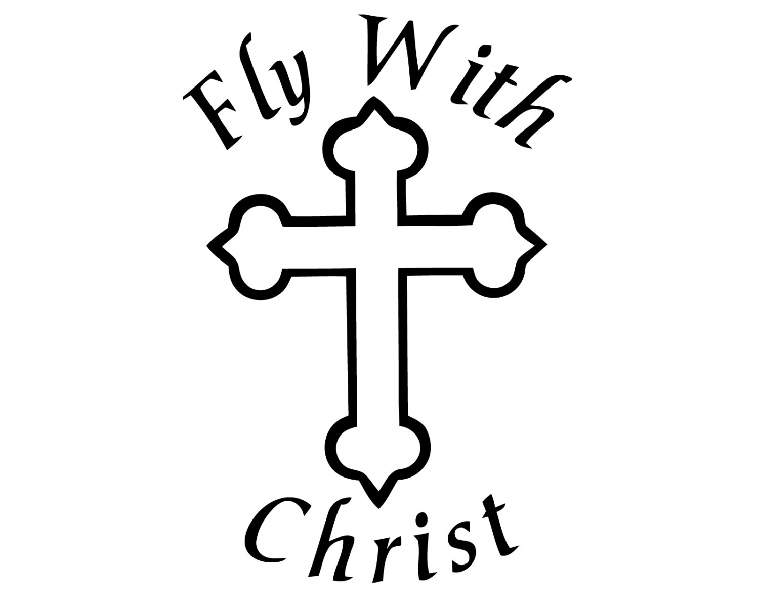 1500x1200 Fly With Christ Cross Decal Christian Jesus Cross Sticker