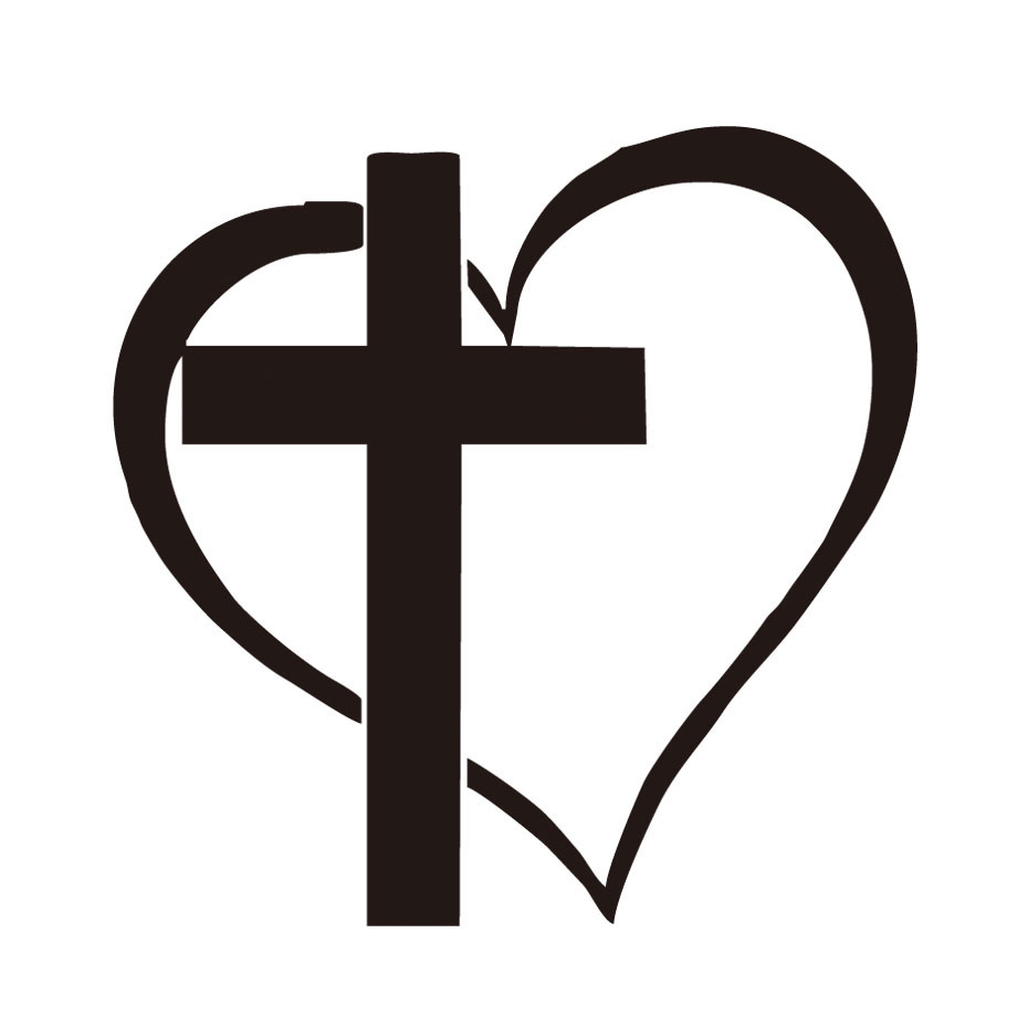 930x930 Cross Heart Jesus Religious God Heart Love Vinyl Car Auto Window