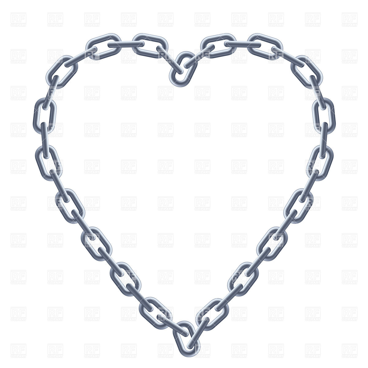 1200x1200 Heart Shaped Silver Chain Frame Royalty Free Vector Clip Art Image