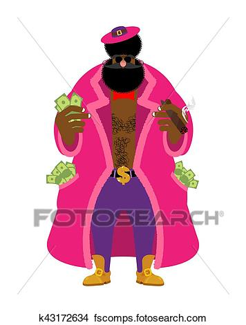 356x470 Clipart Of Pimp And Money. Cool Man. Bully Gigolo. Dishonest Guy