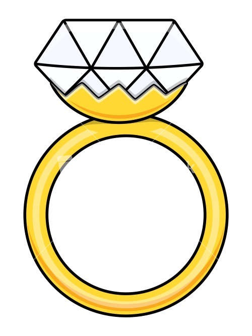 500x667 Cartoon Wedding Rings Jewelry Clipart Engagem 33956