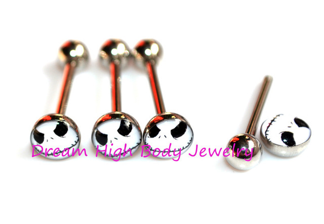 640x444 Jack Tongue Bar 14g Skull Tongue Ring Strairght Bar Fashion Body