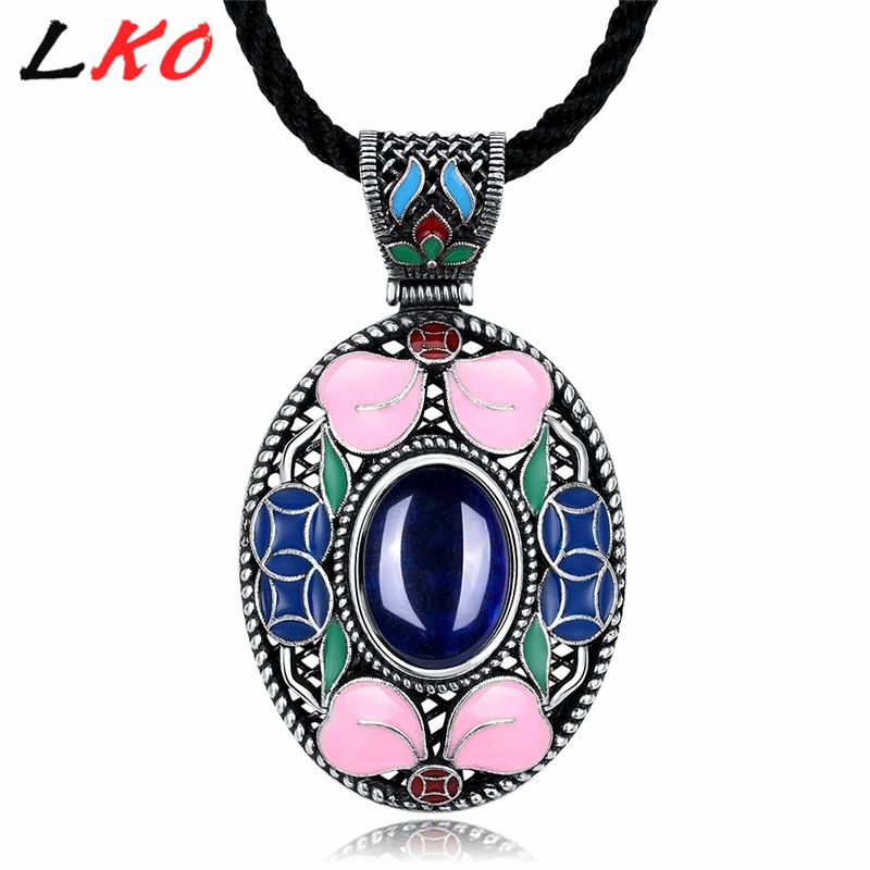 800x800 Lko Bohemian Retro Blue Corundum Jewelry Necklace Pendant Female