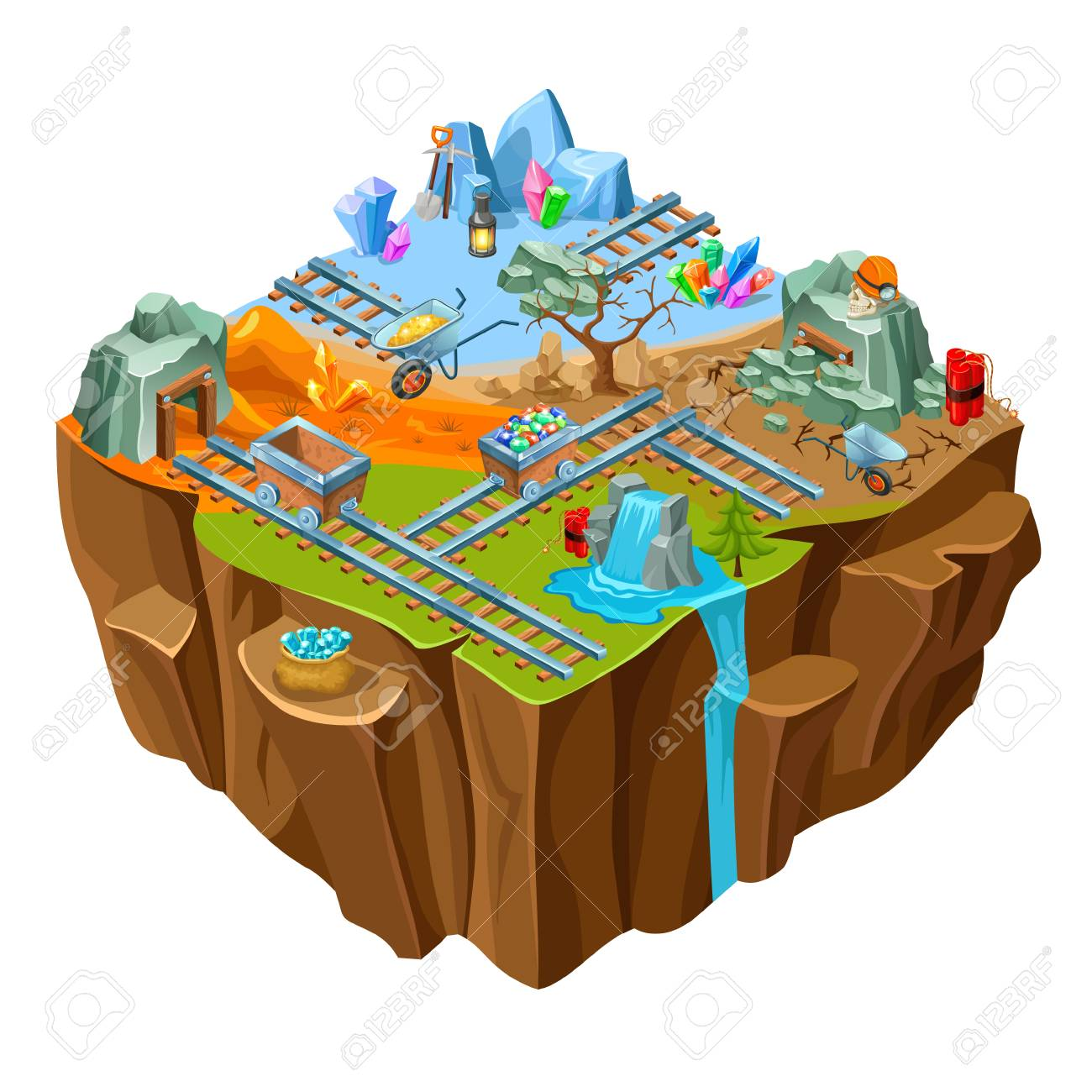 1300x1300 Isometric Mining Game Island Template With Jewels Stones Minerals