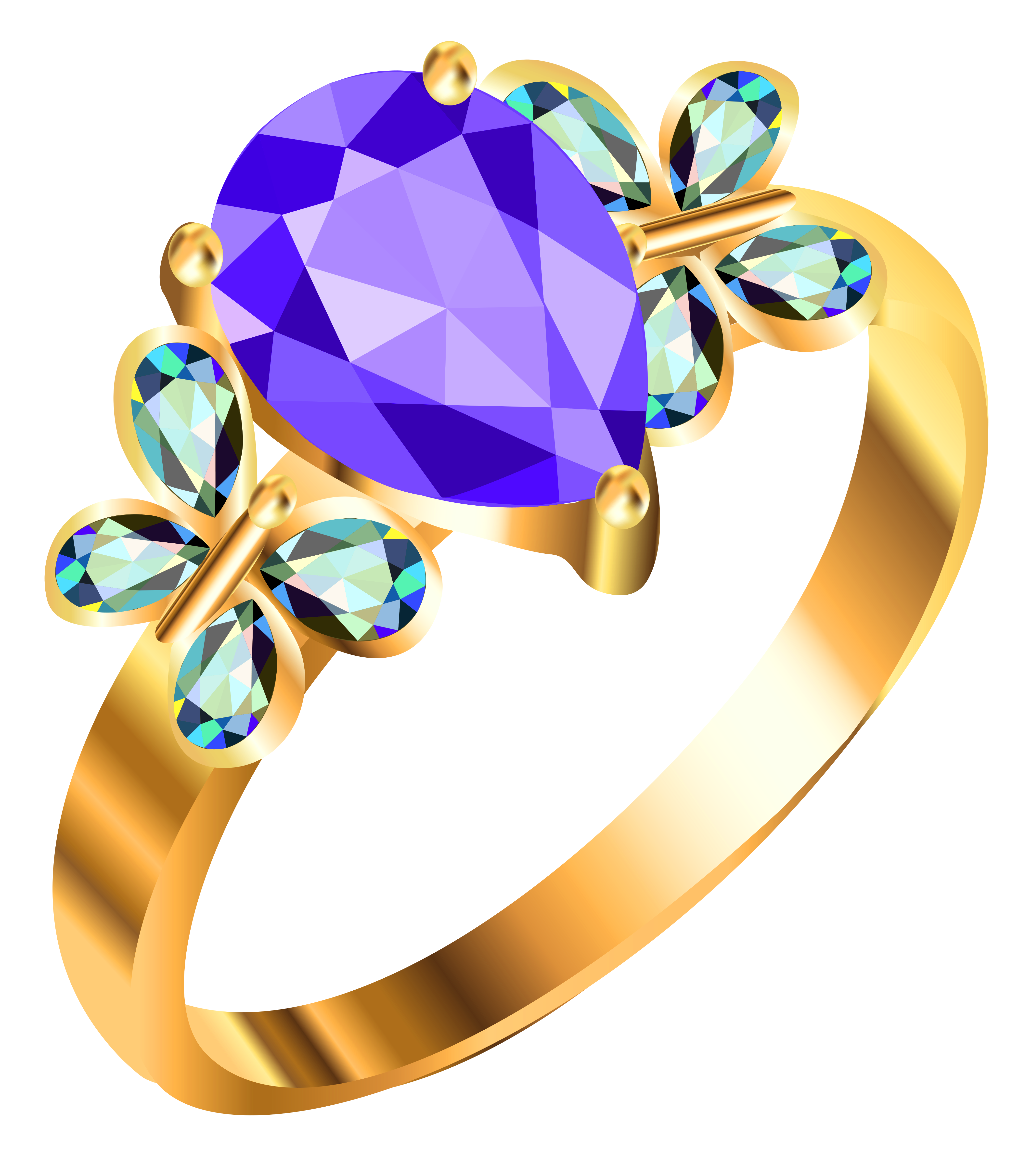 4208x4796 Gold Ring With Blue Andpurple Diamonds Png Clipartu200b Gallery