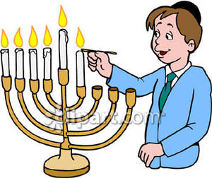 300x252 Boy Lighting A Menorah Royalty Free Clipart Picture