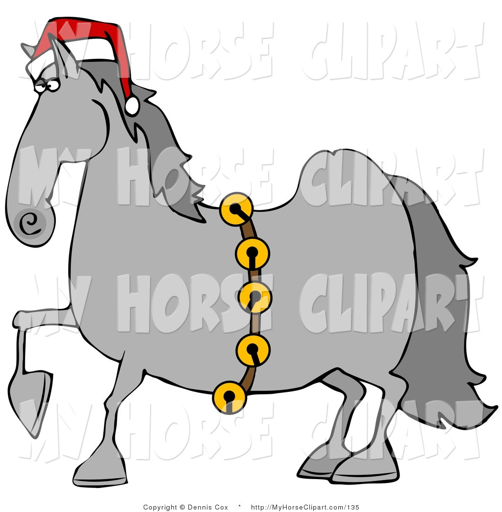 1024x1044 Clip Art Of A Handsome Gray Horse Decked Out In A Festive Red