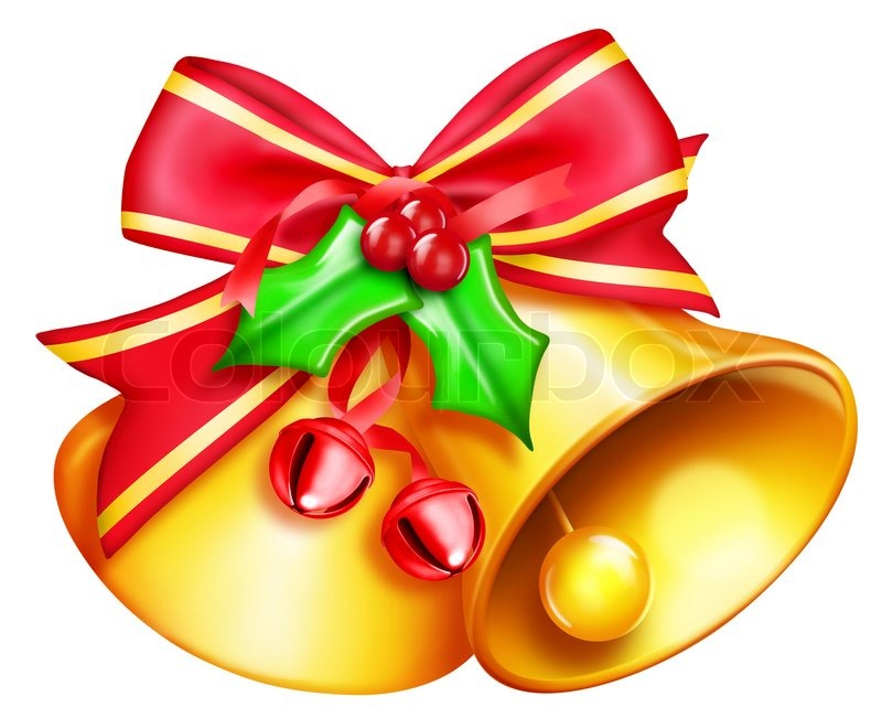 800x651 Illustrated Christmas Bells With Bow And Jingle Bells Stock