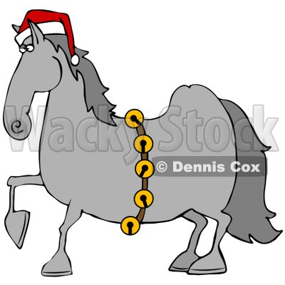 400x400 Illustration Of A Handsome Gray Horse Decked Out In A Red Santa