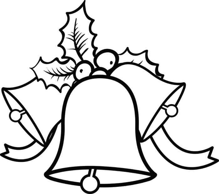 700x622 Bell Clipart Christmas Coloring