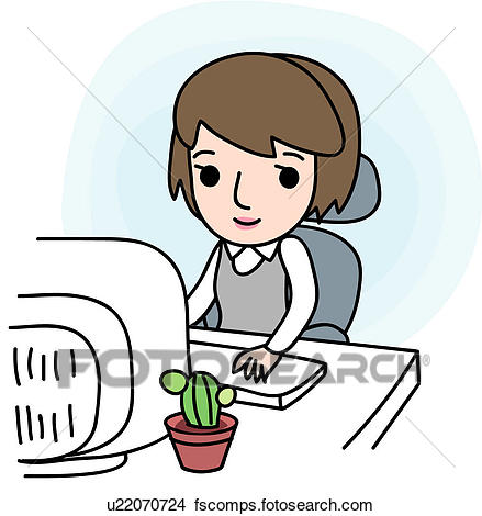 439x470 Clipart Of Typing, Job, Sitting, Chair, Desk, Businesswoman