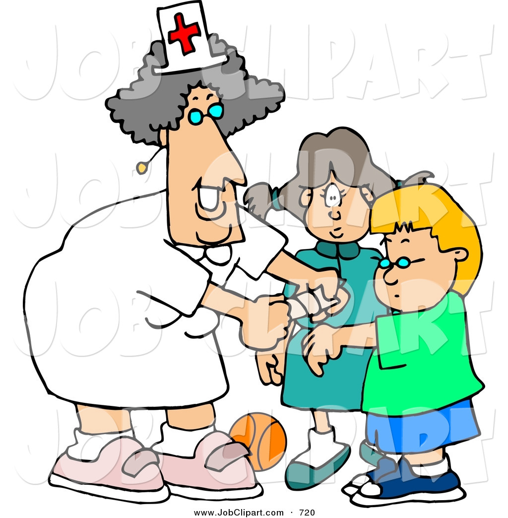 1024x1044 Job Clip Art Of A Grinning Female School Nurse Putting A Bandage