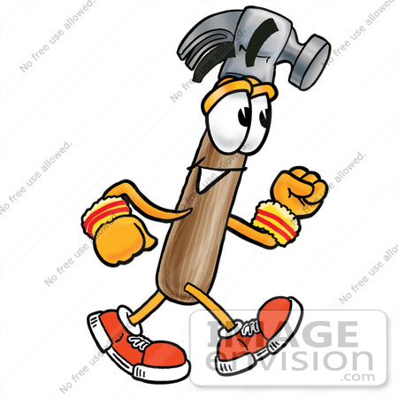 450x450 Clip Art Graphic Of A Hammer Tool Cartoon Character Speed Walking