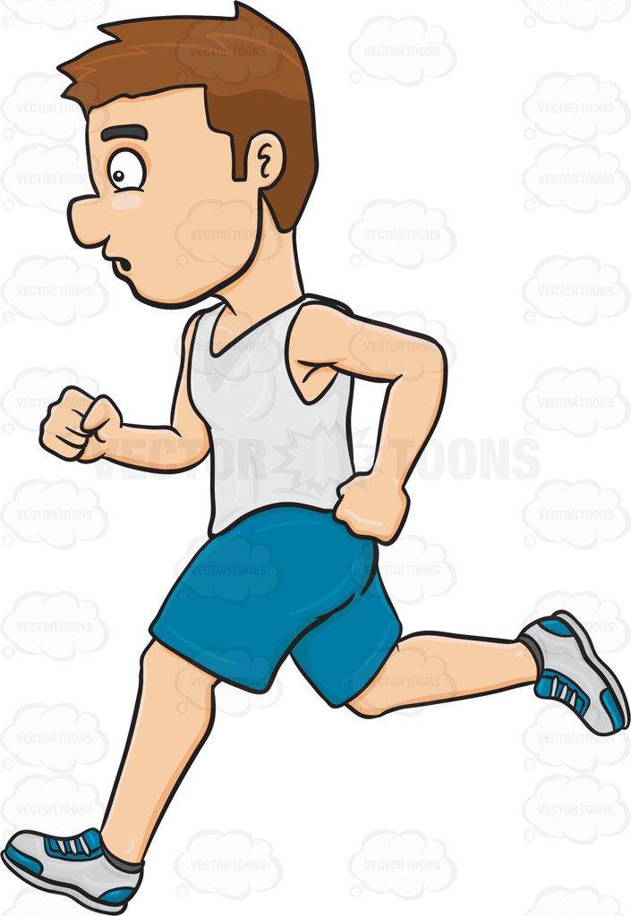 705x1024 A Man Enjoying A Quick Jog Cartoon Clipart