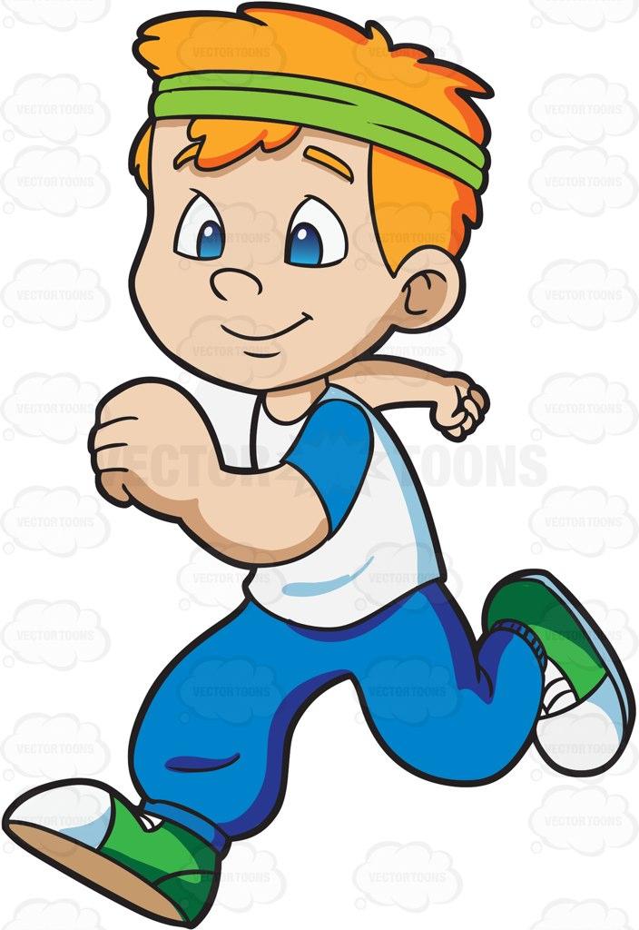 704x1024 Boy Jogging Happily Clipart