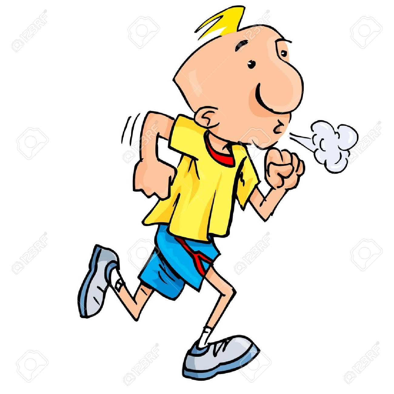 1300x1300 Cartoon Of A Jogging Man Puffing Exertion. Isolated On White