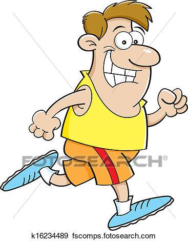 367x470 Clip Art Of Cartoon Man Running K16234489