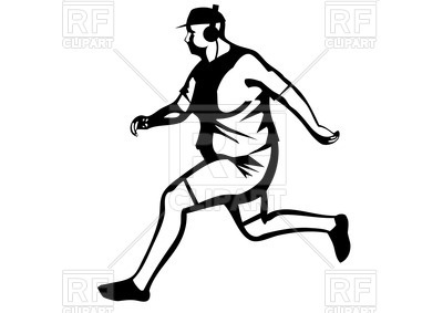 400x283 Silhouette Of Fat Man Jogging Royalty Free Vector Clip Art Image