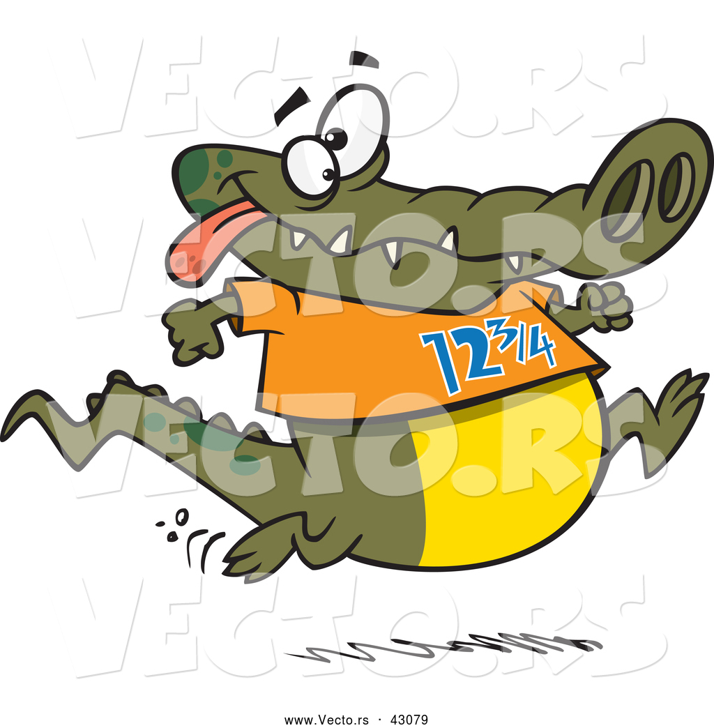 1024x1044 Vector Of A Jogging Cartoon Alligator Smiling And Wearing
