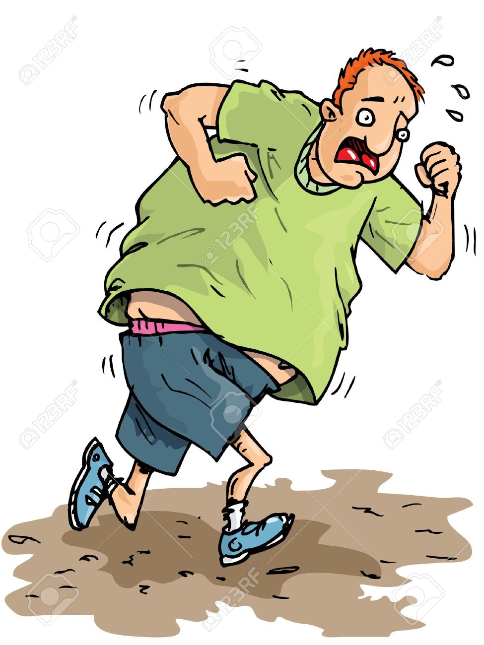 975x1300 Cartoon Of A Fat Jogger Trying To Get Fit. Sweating And Not