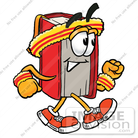 450x450 Clip Art Graphic Of A Book Cartoon Character Speed Walking