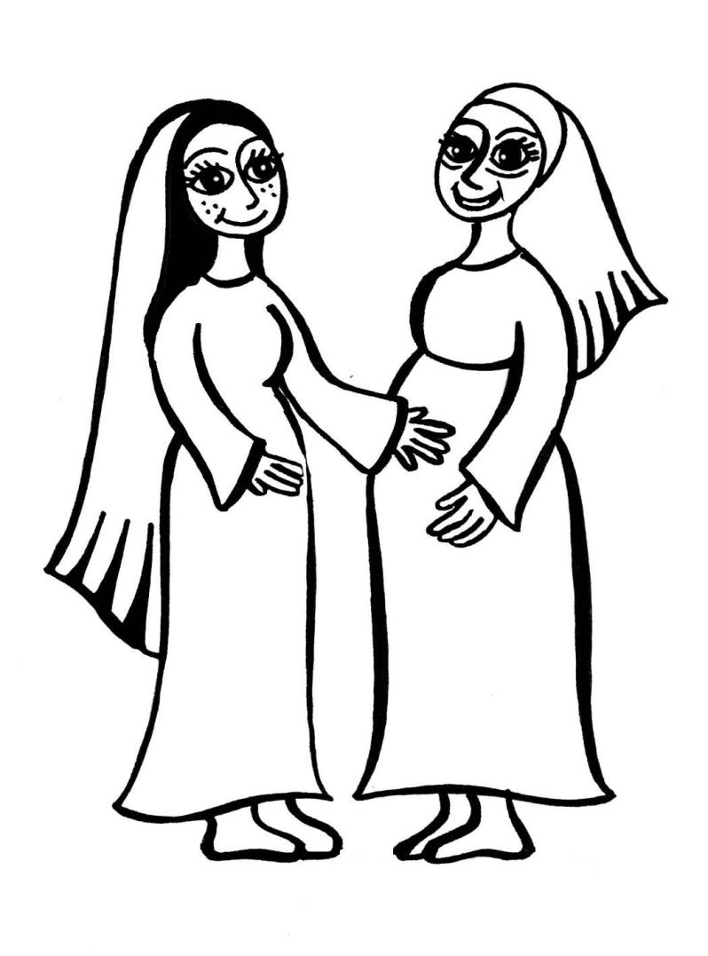 798x1077 Mary And Elizabeth (Baby Jesus And John The Baptist) Coloring Page