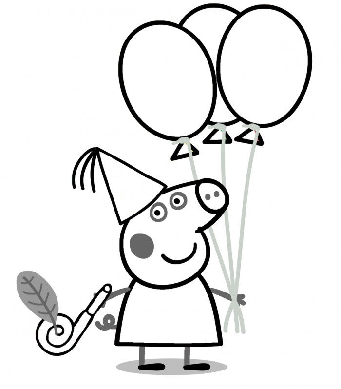 700x798 Peppa Pig Birthday Coloring Pages For Sarah
