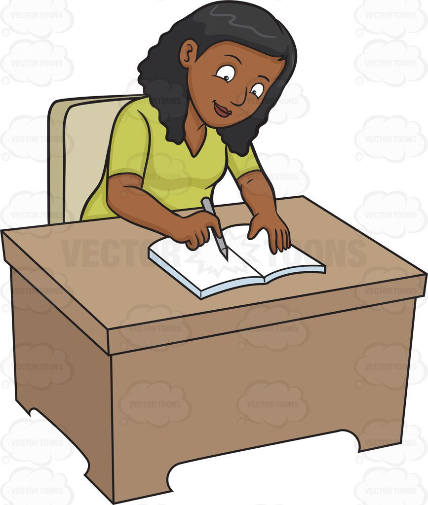 867x1024 A Black Woman Writing On Her Journal Cartoon Clipart
