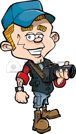 257x450 Cartoon Photo Journalist With A Camera. Isolated On White Royalty