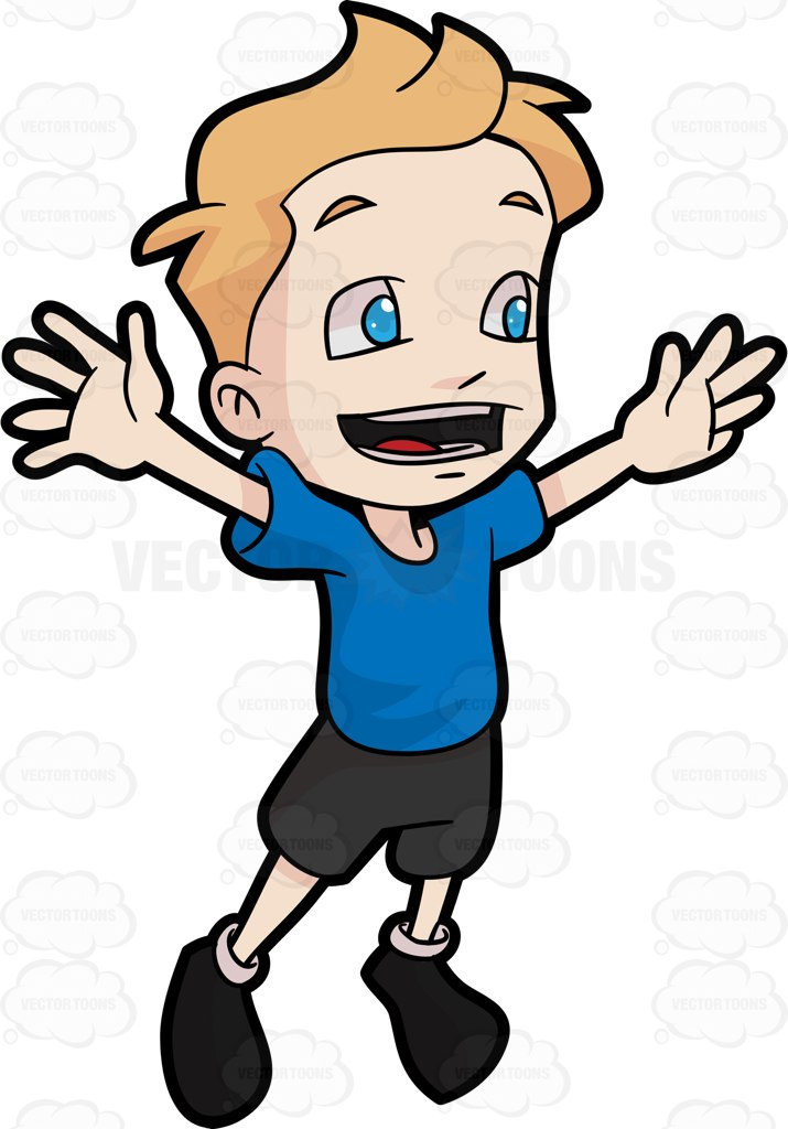 715x1024 A Boy Jumping For Joy Cartoon Clipart