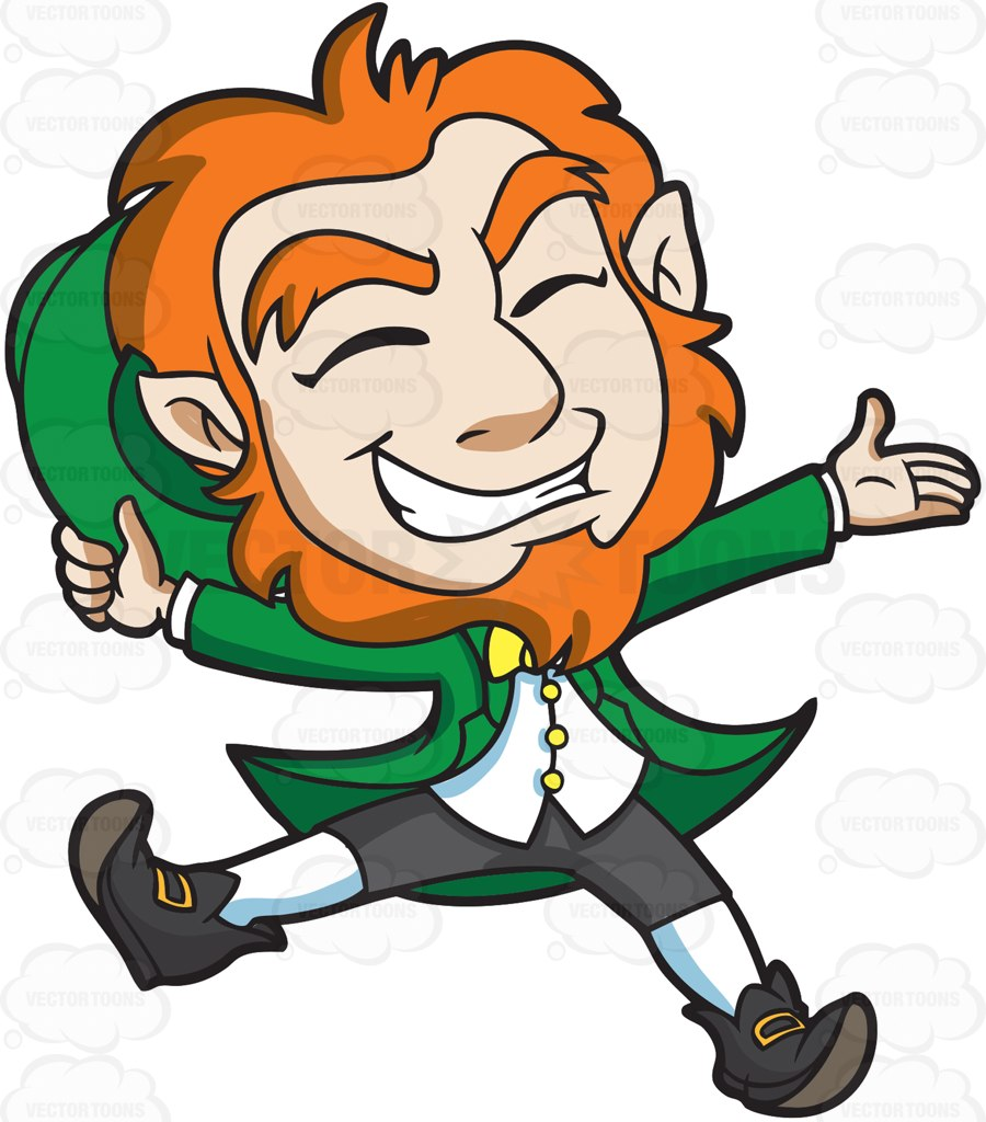 900x1024 A Delighted Leprechaun Jumps For Joy Cartoon Clipart