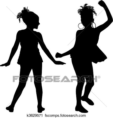 448x470 Clipart Of Joy Silhouette Children K3629571