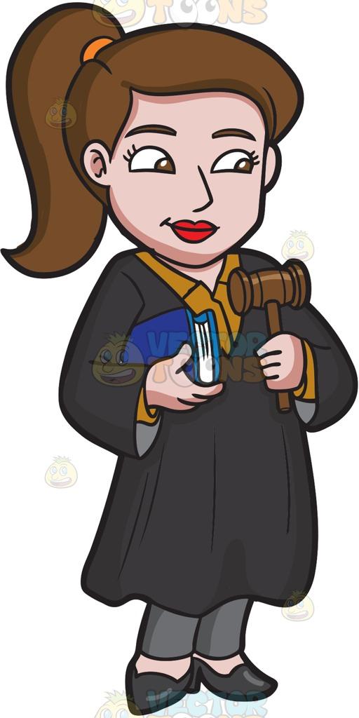512x1024 A Young Female Judge Cartoon Clipart