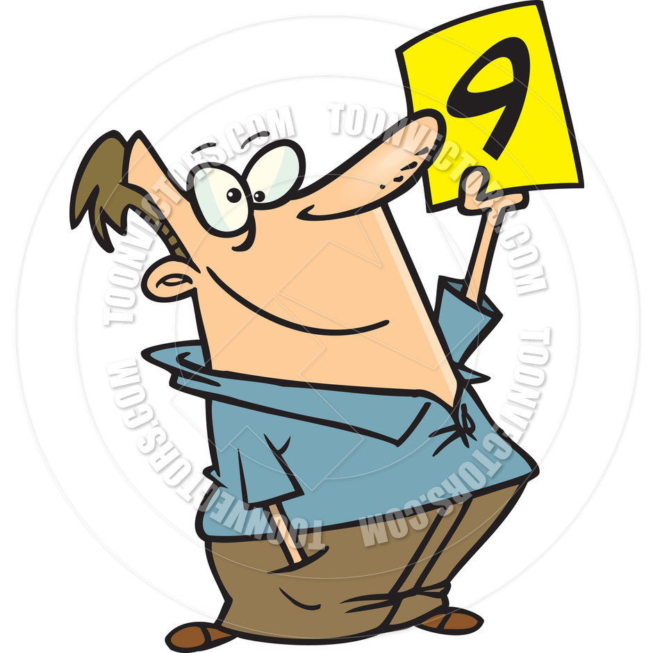 940x940 Cartoon Man Holding Scorecard By Ron Leishman Toon Vectors Eps