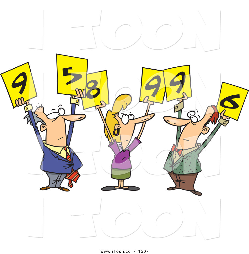1024x1044 Cartoon Men And Woman Judges Holding Up Number Signs And Looking